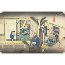 歌川広重: Travelers and Hostesses at an Inn at Akasaka, no. 37 from the series Fifty-three Stations of the Tokaido (Hoeido Tokaido) - ウィスコンシン大学マディソン校