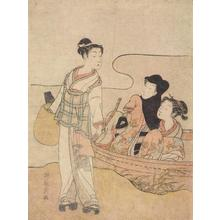 Isoda Koryusai: Itinerant Priest and Couple on Boat - University of Wisconsin-Madison