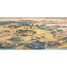 歌川広重: The Precincts of the Tomigaoka Hachiman Shrine at Fukagawa, from the series Famous Places in the Eastern Capital - ウィスコンシン大学マディソン校