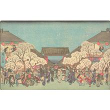 Utagawa Hiroshige: Cherry Trees at Night at the Yoshiwara, from the series Famous Places in the Eastern Capital - University of Wisconsin-Madison