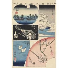 Utagawa Hiroshige: Five Vignettes of Edo, from the series Harimaze of Famous Places in Edo - University of Wisconsin-Madison