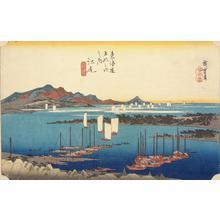 歌川広重: Distant View of Mio from Ejiri, no. 19 from the series Fifty-three Stations of the Tokaido (Hoeido Tokaido) - ウィスコンシン大学マディソン校