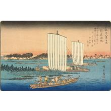 歌川広重: Returning Sails at Gyotoku, from the series Eight Views of the Environs of Edo - ウィスコンシン大学マディソン校