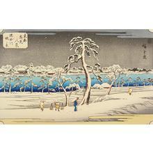 歌川広重: The Embankment of the Sumida River, from the series Eight Snow Scenes in the Eastern Capital - ウィスコンシン大学マディソン校