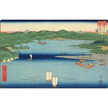 Utagawa Hiroshige: Kokokubu Harbor in Etchu Province, no. 7 from the series Mountains and Seas in a Wrestling Tournament - University of Wisconsin-Madison