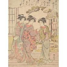 鳥居清長: The Evening Glow of the Candle Stand, from the series Eight Views of Mansions - ウィスコンシン大学マディソン校
