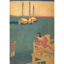 Utagawa Kunisada: Girl Fishing from Balcony Near Shinagawa Bay - University of Wisconsin-Madison