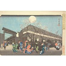 Utagawa Hiroshige: Cherry Trees at Night at Nakanocho in the Yoshiwara, from the series Famous Places in the Eastern Capital - University of Wisconsin-Madison