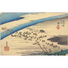 Utagawa Hiroshige: The Suruga Bank of the Oi River near Shimada, no. 24 from the series Fifty-three Stations of the Tokaido (Hoeido Tokaido) - University of Wisconsin-Madison