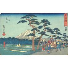 歌川広重: Fuji on the Left near Yoshiwara, no. 15 from the series Fifty-three Stations of the Tokaido (Marusei or Reisho Tokaido) - ウィスコンシン大学マディソン校