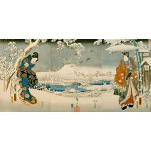 無款: Snow Viewing, from the series An Elegant Genji - ウィスコンシン大学マディソン校