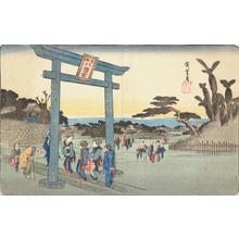 歌川広重: Tomigaoka Hachiman Shrine at Fukagawa, from the series Famous Places in the Eastern Capital - ウィスコンシン大学マディソン校