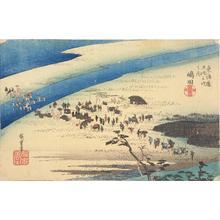 Utagawa Hiroshige: The Suruga Bank of the Oi River near Shimada, no. 24 from the series Fifty-three Stations of the Tokaido (Hoeido Tokaido) - University of Wisconsin-Madison