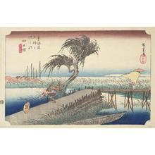 Utagawa Hiroshige: The Mie River near Yokkaichi, no. 44 from the series Fifty-three Stations of the Tokaido (Hoeido Tokaido) - University of Wisconsin-Madison