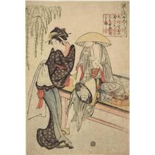 Rekisentei Eiri: Teahouse Waitress with a Seated Client, from the series Elegant Precepts from the Women's Imagawa - University of Wisconsin-Madison