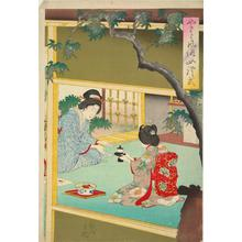 豊原周延: Woman Taking Tea, from the series Customary Japanese Female Ettiquette - ウィスコンシン大学マディソン校