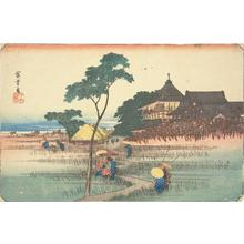 Utagawa Hiroshige: Sazai Hall at the Temple of the Five Hundred Arhats, from the series Famous Places in the Eastern Capital - University of Wisconsin-Madison