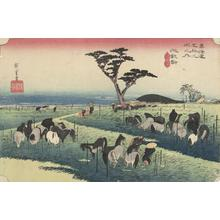 歌川広重: The Horse Market in the Fourth Month at Chiryu, no. 40 from the series Fifty-three Stations of the Tokaido (Hoeido Tokaido) - ウィスコンシン大学マディソン校