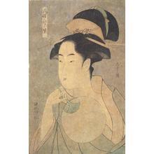 細田栄之: Half-length Portrait of Courtesan with Fan, from the series Scenes from Daily Life in Edo with Costumes of Purple - ウィスコンシン大学マディソン校