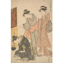 鳥居清長: Two Women and Dozing Maid, from the series Beauties of the East as Reflected in Fashions - ウィスコンシン大学マディソン校
