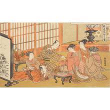 磯田湖龍齋: Men and Women Banqueting, from the series Twelve Bouts on the Path of Love - ウィスコンシン大学マディソン校