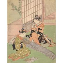 鈴木春信: Descending Geese on the Koto, from the series Eight Views of the Parlor - ウィスコンシン大学マディソン校