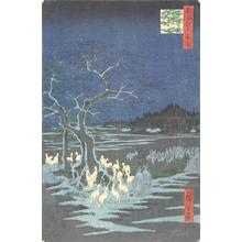 歌川広重: Fox Fires on New Year's Eve at the Shozoku Hackberry Tree in Oji, no. 118 from the series One-hundred Views of Famous Places in Edo - ウィスコンシン大学マディソン校