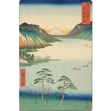Utagawa Hiroshige: Lake Suwa in Shinano Province, no. 28 from the series Thirty-six Views of Mt. Fuji - University of Wisconsin-Madison