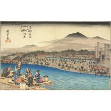 Utagawa Hiroshige: Enjoying the Evening Cool on the Riverbed at Shijo, from the series Famous Places in Kyoto - University of Wisconsin-Madison