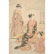 鳥居清長: Two Women and a Child before Mt. Fuji - ウィスコンシン大学マディソン校
