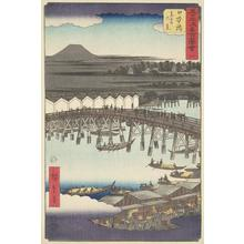 Utagawa Hiroshige: Dawn Clouds at Nihon Bridge, no. 1 from the series Pictures of the Famous Places on the Fifty-three Stations (Vertical Tokaido) - University of Wisconsin-Madison