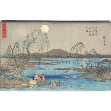 歌川広重: Fishing for Trout under an Autumn Moon on the Tama River, from the series Famous Places in Snow, Moon, and Flowers - ウィスコンシン大学マディソン校