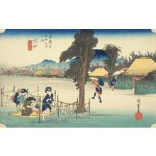 Utagawa Hiroshige: Drying Strips of Gourd, a Famous Product of Minakuchi, no. 51 from the series Fifty-three Stations of the Tokaido (Hoeido Tokaido) - University of Wisconsin-Madison