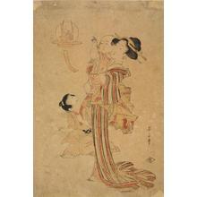 菊川英山: Mother and Children Looking at a Hanging Decoration - ウィスコンシン大学マディソン校