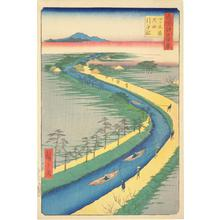 Utagawa Hiroshige: Towboats along the Yotsugidori Canal, no. 33 from the series One-hundred Views of Famous Places in Edo - University of Wisconsin-Madison