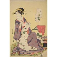 Hosoda Eishi: The Courtesan Hinazuru of the Choji Establishment Holding a Fan, Peony from the series Six Beauties of the Licensed Quarters Compared with Flowers - University of Wisconsin-Madison