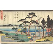 Utagawa Hiroshige: Shower on the Embankment of the Sumida River, from the series A New Selection of Famous Places in Edo - University of Wisconsin-Madison