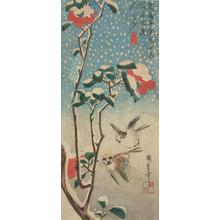 Utagawa Hiroshige: Sparrows, Flowering Sazanka, and Falling Snow - University of Wisconsin-Madison