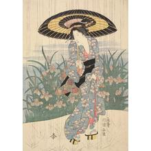 Utagawa Kuniyasu: Woman in Rainfall - University of Wisconsin-Madison