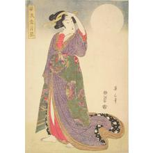 Kikugawa Eizan: Geisha and Full Moon, from the series Elegant Pictures of Snow, Moon, and Flowers - University of Wisconsin-Madison