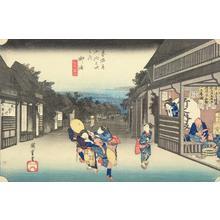 Utagawa Hiroshige: Women Stopping Travelers at Goyu, no. 36 from the series Fifty-three Stations of the Tokaido (Hoeido Tokaido) - University of Wisconsin-Madison