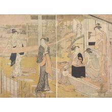 鳥居清長: Five Women at a House beside a River - ウィスコンシン大学マディソン校