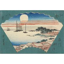 歌川広重: Autumn Moon at Shinagawa, from the series Eight Views of Edo - ウィスコンシン大学マディソン校