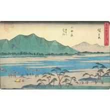 Utagawa Hiroshige: Ford on the Sakawa River near Odawara, no. 10 from the series Fifty-three Stations of the Tokaido (Gyosho Tokaido) - University of Wisconsin-Madison