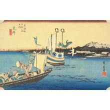 Utagawa Hiroshige: Ferries at Arai, no. 32 from the series Fifty-three Stations of the Tokaido (Hoeido Tokaido) - University of Wisconsin-Madison
