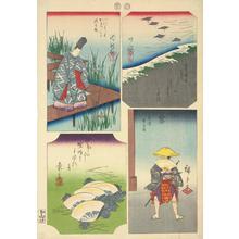 歌川広重: Chiryu, Narumi, Kuwana, and Miya, no. 12 from the series Pictures of the Fifty-three Stations of the Tokaido - ウィスコンシン大学マディソン校