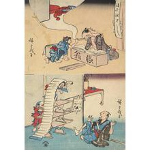 Utagawa Hiroshige: Child Painting Clerk's Eyebrows and Students Frightening Teacher, from a series of Comic Subjects - University of Wisconsin-Madison