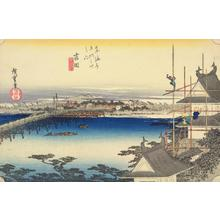 歌川広重: The Bridge over the Toyo River at Yoshida, no. 35 from the series Fifty-three Stations of the Tokaido (Hoeido Tokaido) - ウィスコンシン大学マディソン校