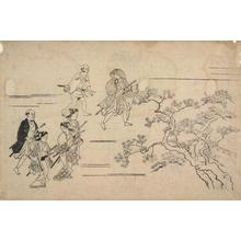 菱川師宣: Samurai Glancing at Three Young Men, from the series Flower Viewing at Ueno - ウィスコンシン大学マディソン校