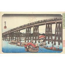 歌川広重: Enjoying the Evening Cool at Ryogoku Bridge, from the series Famous Places in Edo - ウィスコンシン大学マディソン校